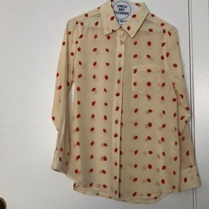 Silk cream blouse with strawberries